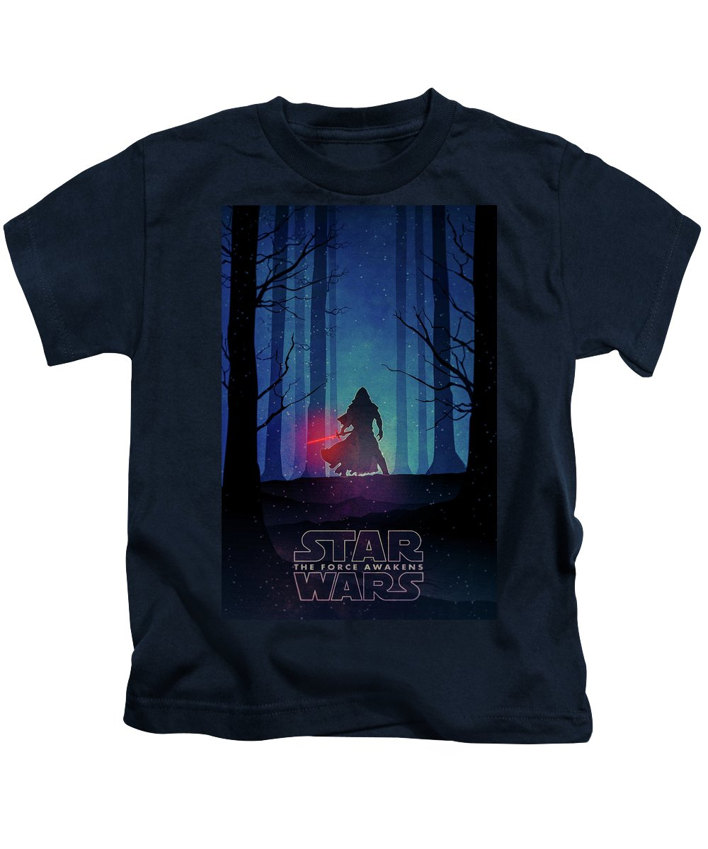 Star Kids T-Shirt featuring the drawing Star Wars - The Force Awakens by Farhad Tamim