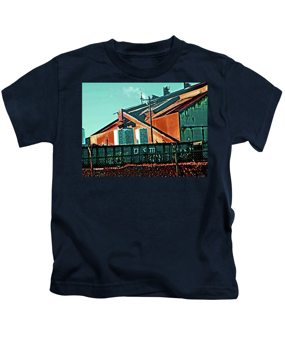 Abstract Kids T-Shirt featuring the digital art Steel City Cfi by Lenore Senior