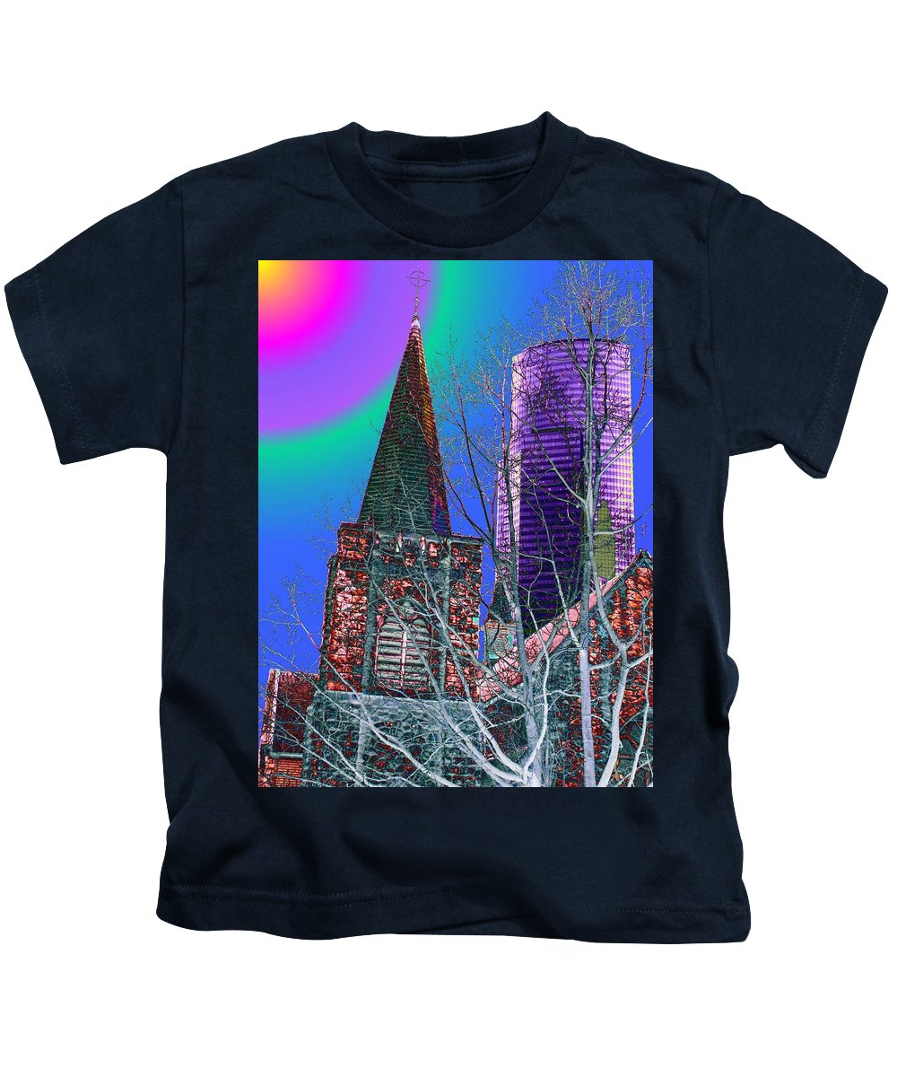 Seattle Kids T-Shirt featuring the digital art Steeple And Columbia by Tim Allen