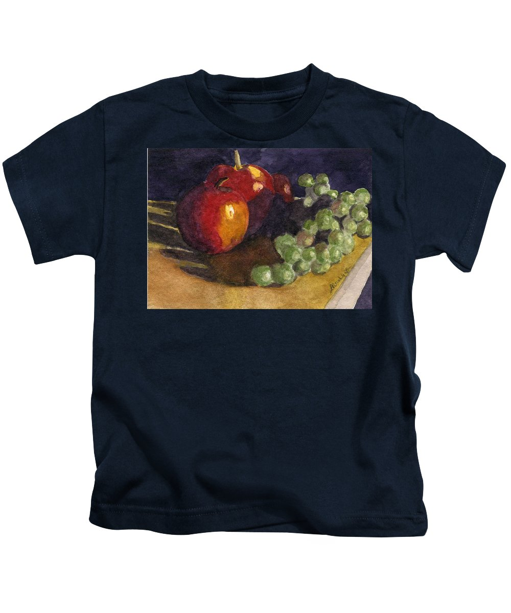 Watercolor Kids T-Shirt featuring the painting Still Apples by Lynne Reichhart