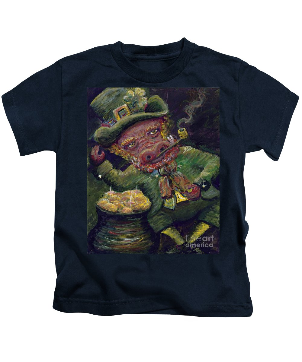 Hog Kids T-Shirt featuring the painting St.patricks Day Pig by Nadine Rippelmeyer