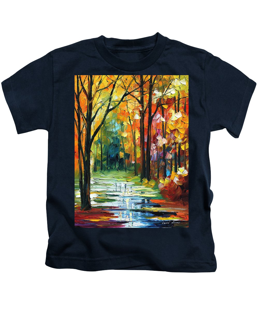 Afremov Kids T-Shirt featuring the painting Stream by Leonid Afremov