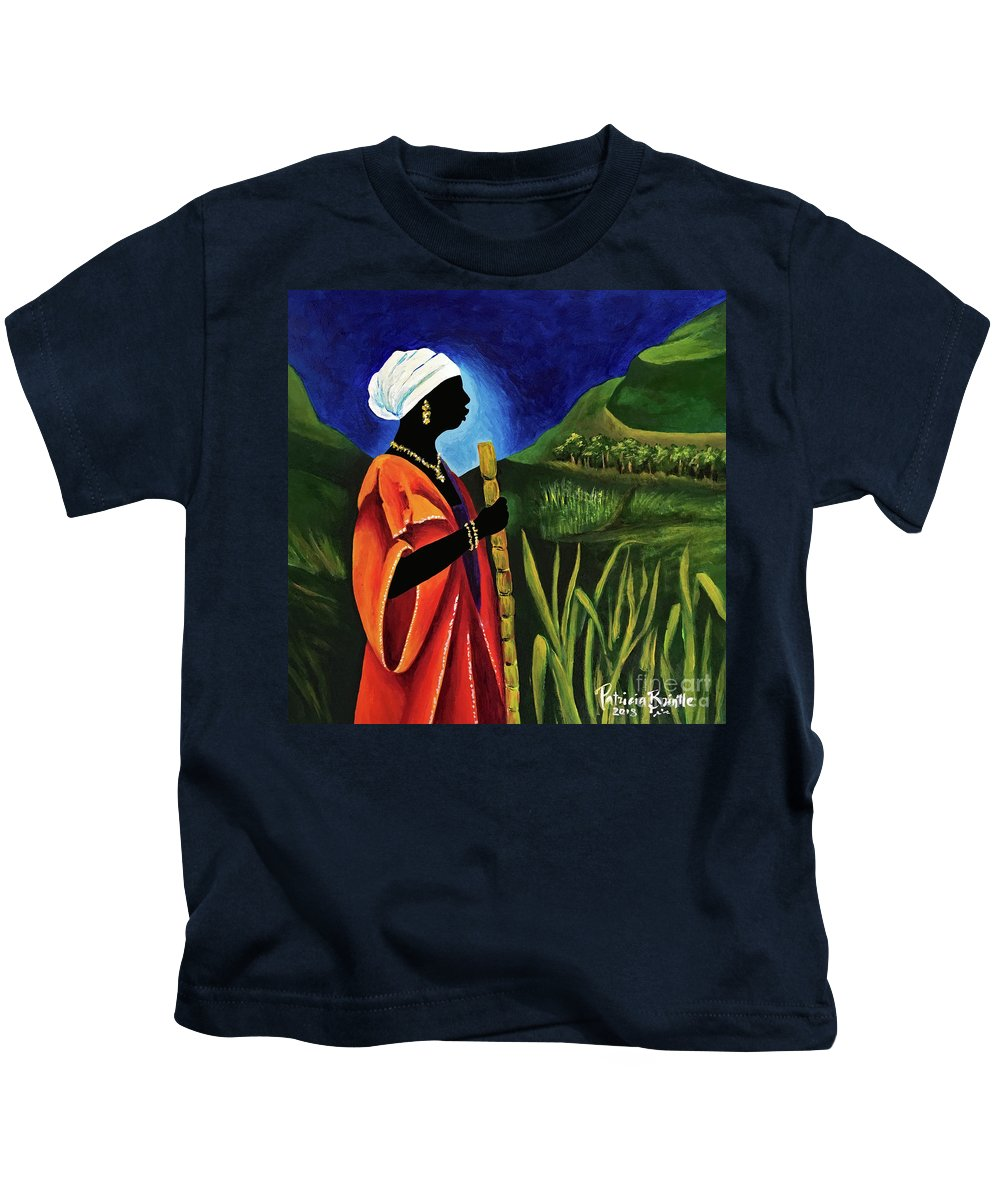 Haiti Kids T-Shirt featuring the painting Sugarcane Journey by Patricia Brintle