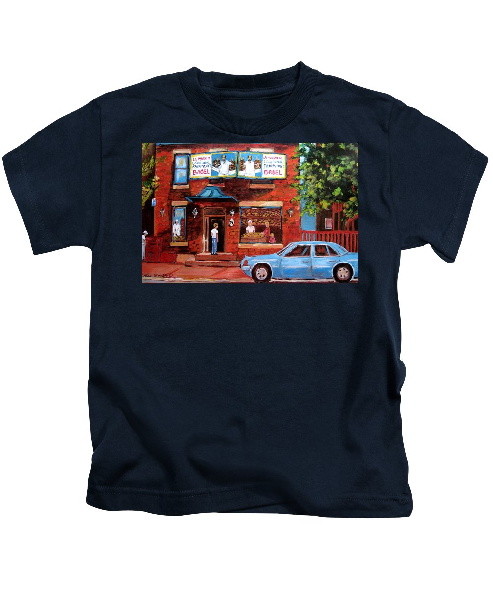 Fairmount Bagel Kids T-Shirt featuring the painting Summer At Fairmount by Carole Spandau