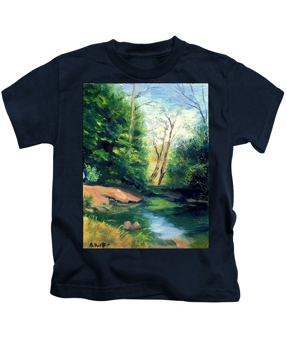 Landscape Kids T-Shirt featuring the painting Summer At Storm by Gail Kirtz