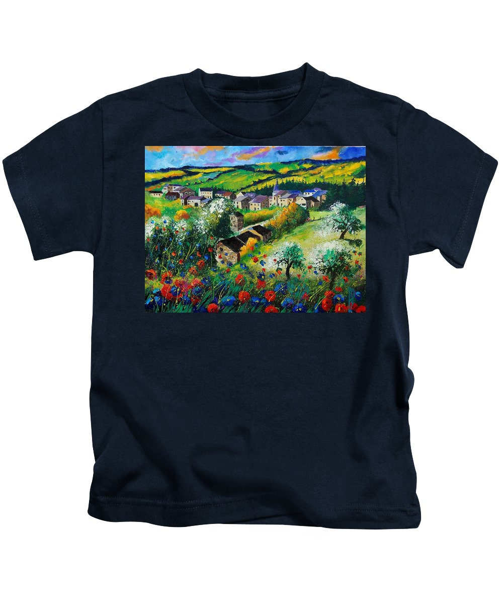Poppies Kids T-Shirt featuring the painting Summer In Rochehaut by Pol Ledent