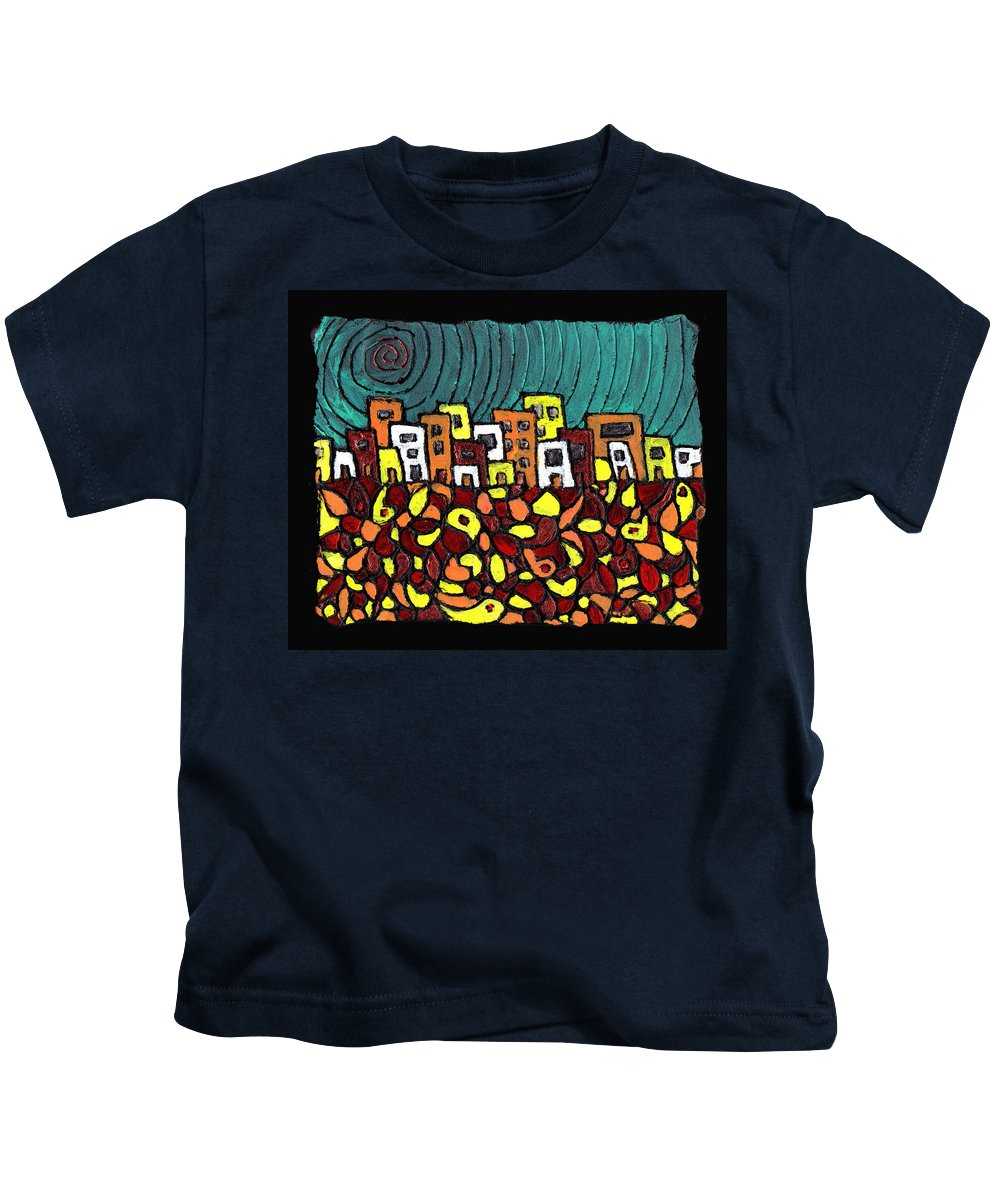 City Kids T-Shirt featuring the painting Summer In The City by Wayne Potrafka