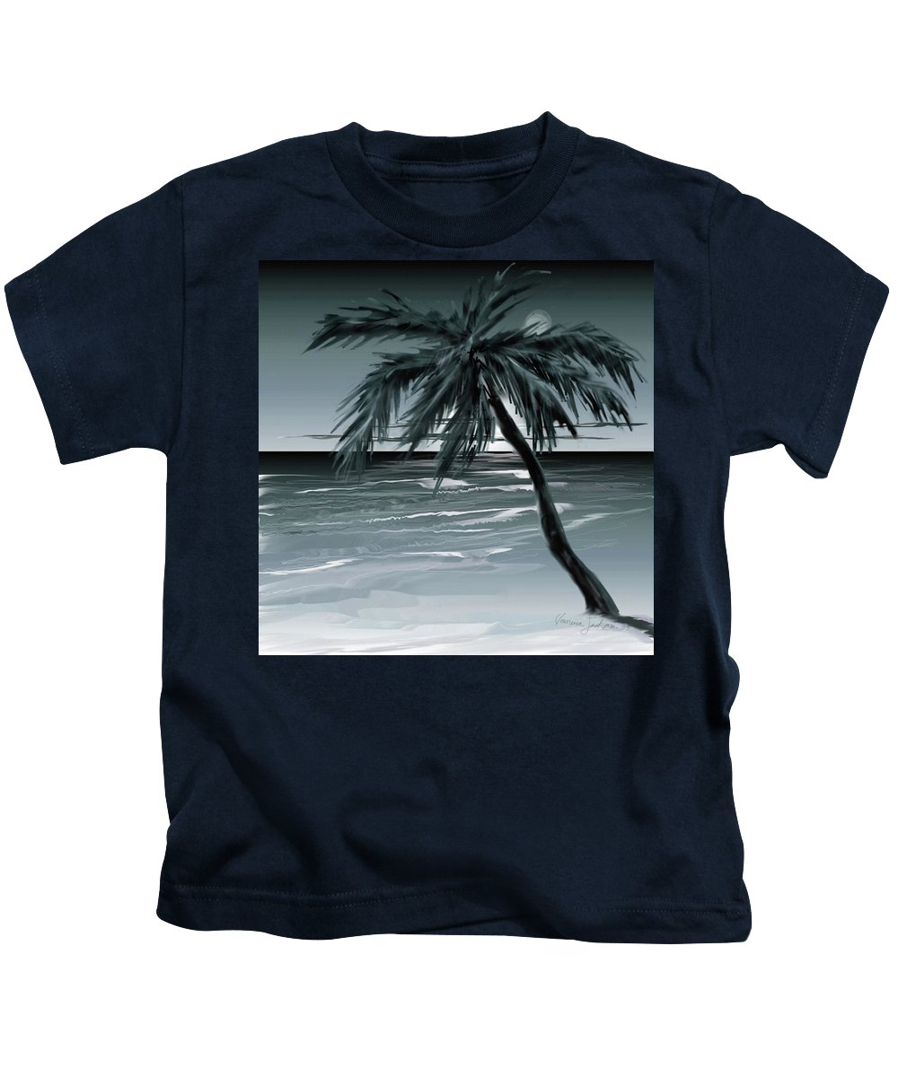 Water Beach Sea Ocean Palm Tree Summer Breeze Moonlight Sky Night Kids T-Shirt featuring the digital art Summer Night In Florida by Veronica Jackson
