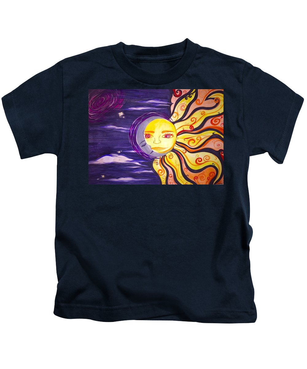 Trippy Kids T-Shirt featuring the painting Sun And Moon by Gabby Fuller