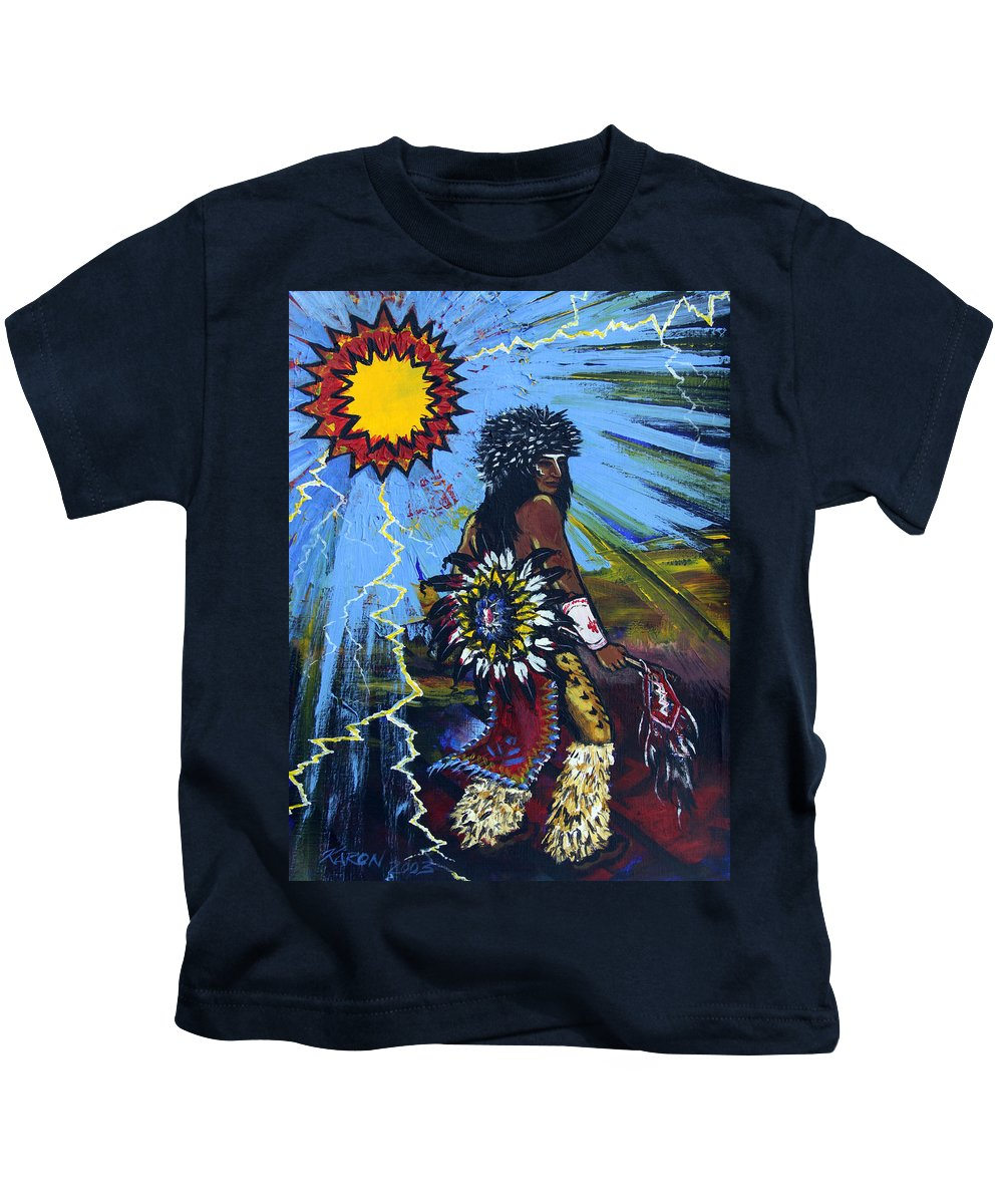 Art Kids T-Shirt featuring the painting Sun Dancer by Karon Melillo DeVega