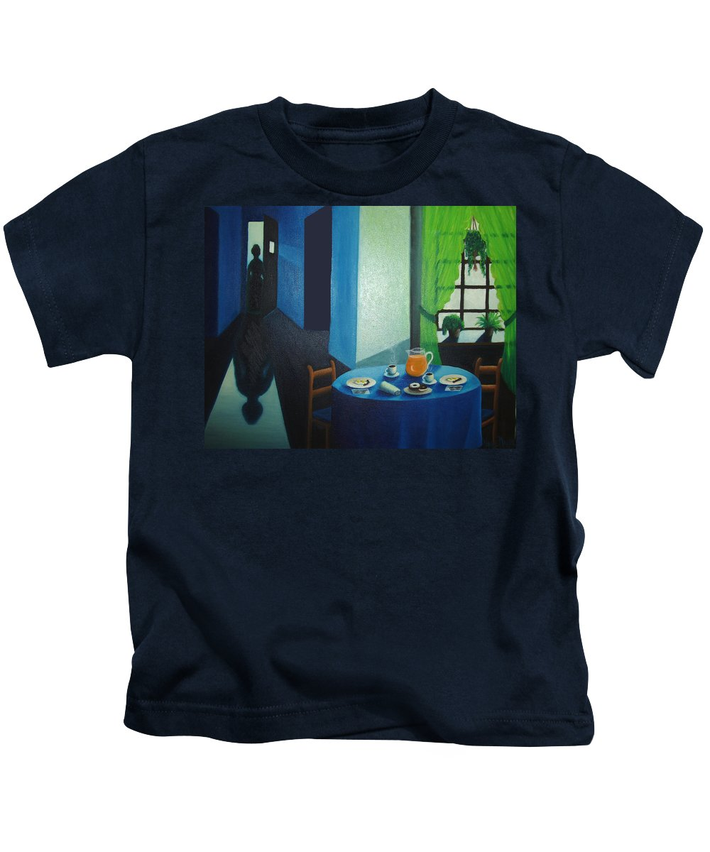 Breakfast Kids T-Shirt featuring the painting Sunday Morning Breakfast by Nancy Mueller