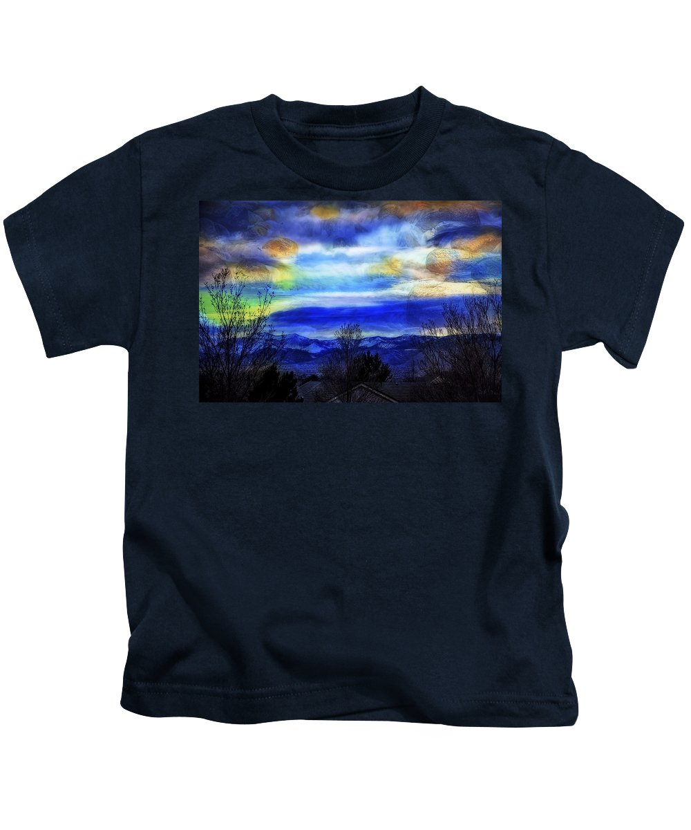 Double Kids T-Shirt featuring the photograph Sundown Overhead-2 by Nancy Marie Ricketts