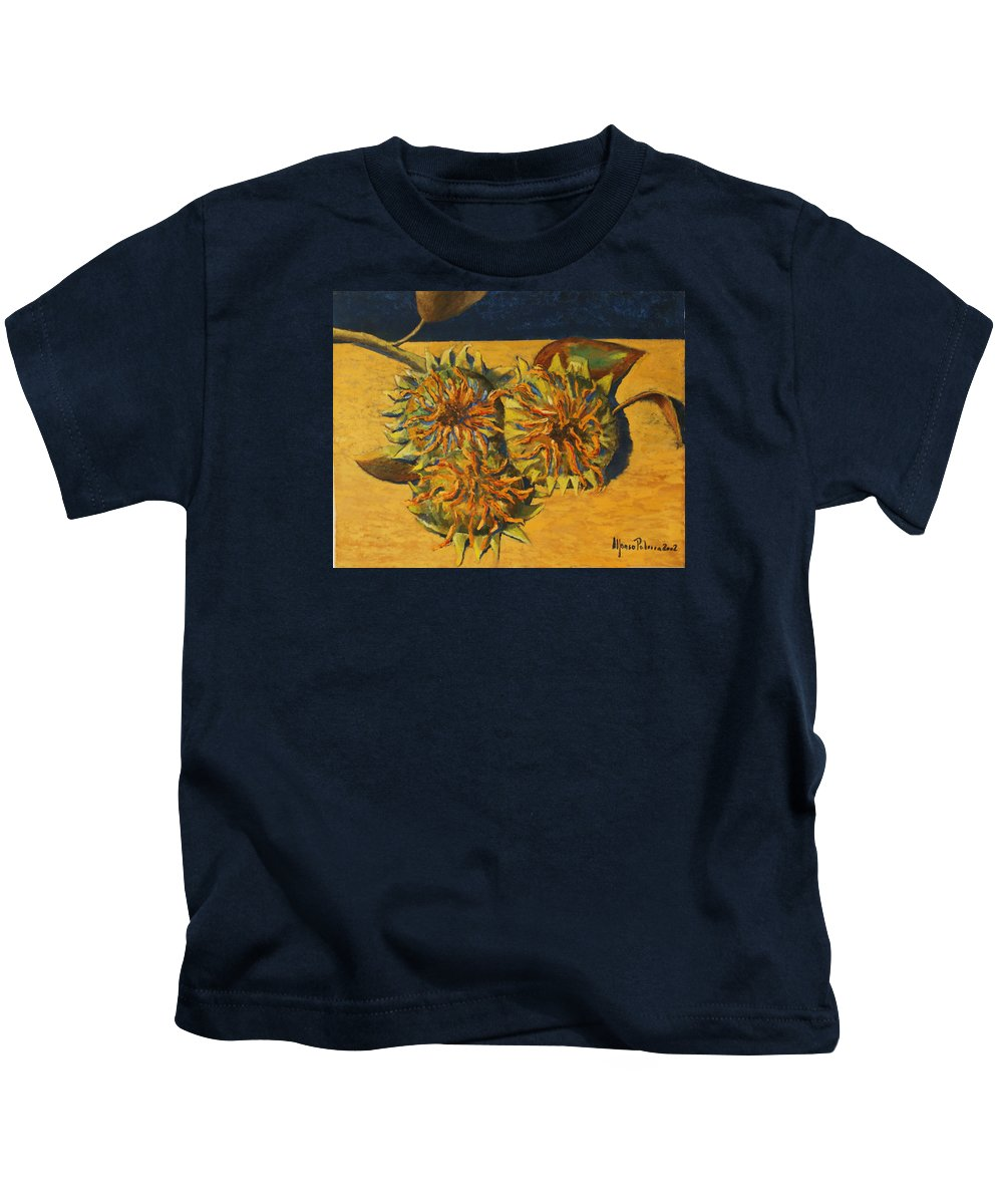 Still-life Painting Kids T-Shirt featuring the painting Sunflowers by Alfonso Palma