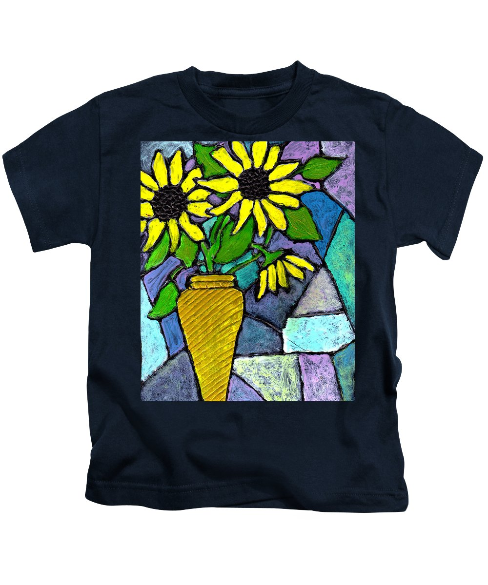 Flowers Kids T-Shirt featuring the painting Sunflowers In A Vase by Wayne Potrafka