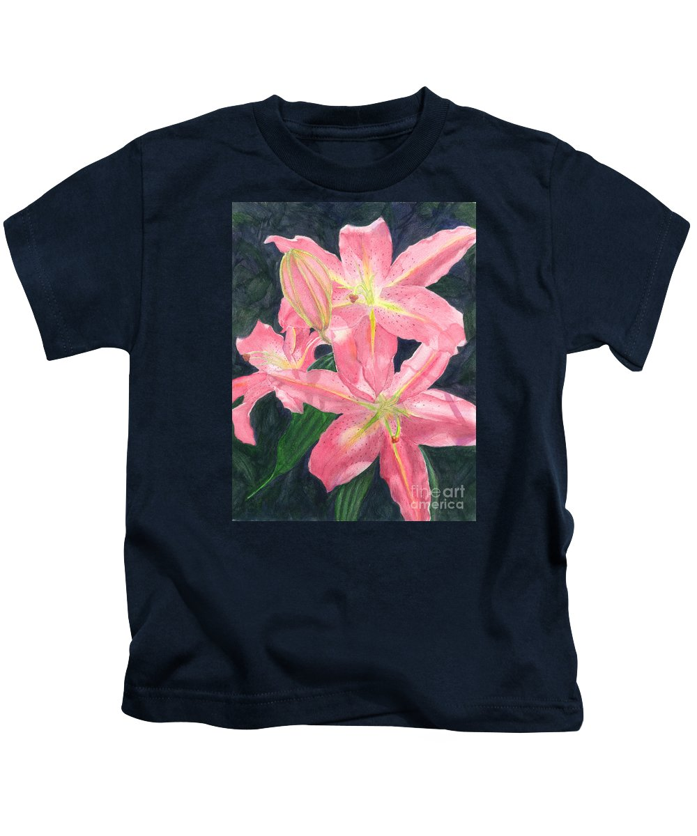 Floral Kids T-Shirt featuring the painting Sunlit Lilies by Lynn Quinn