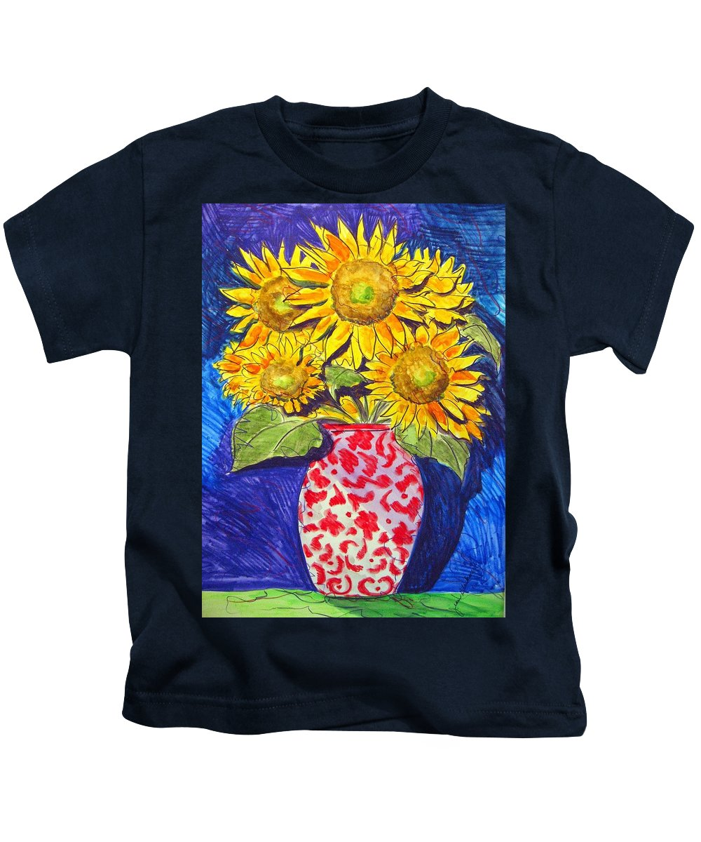 Sunflower Kids T-Shirt featuring the painting Sunny Disposition by Jean Blackmer