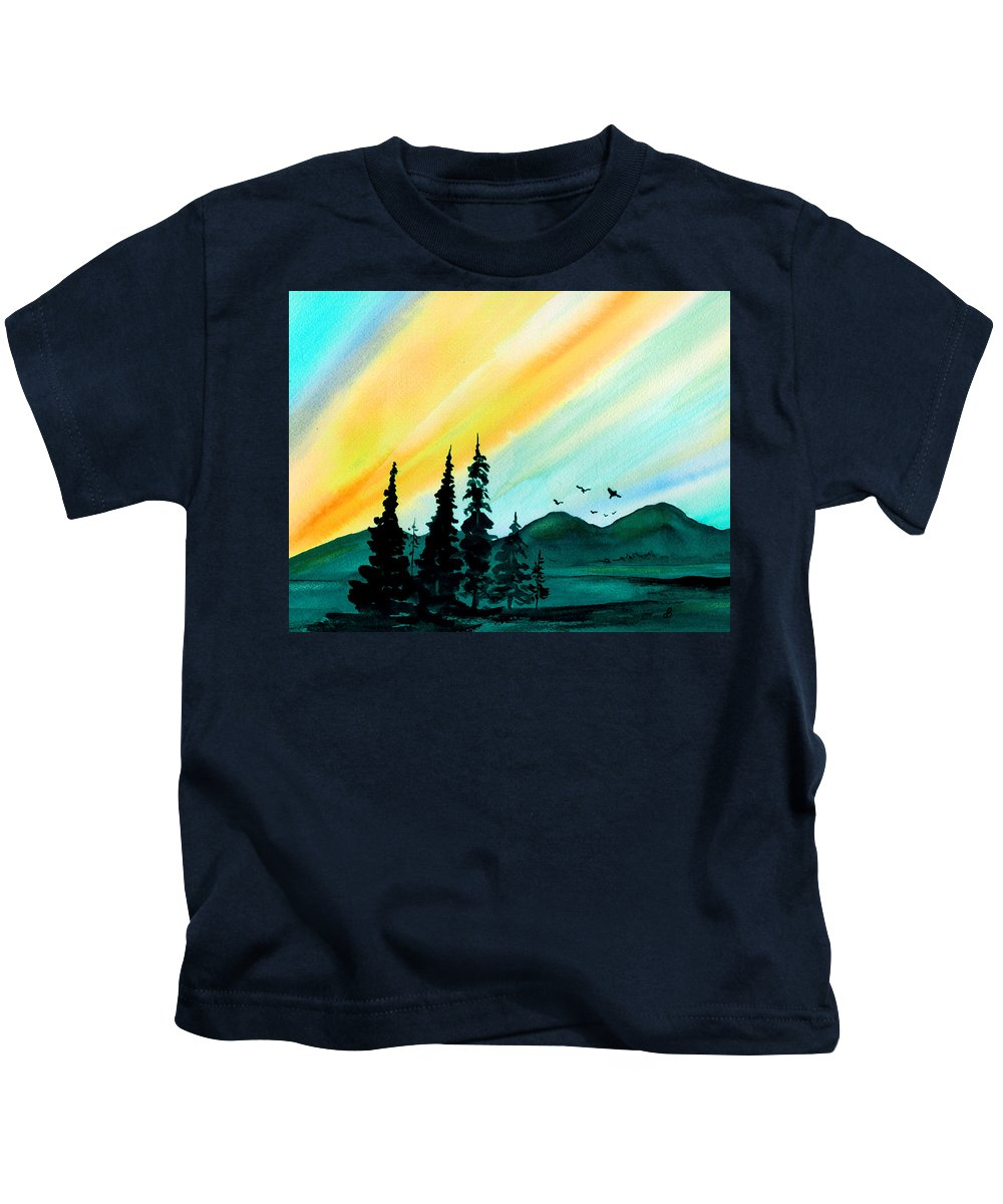 Landscape Kids T-Shirt featuring the painting Sunrays by Brenda Owen