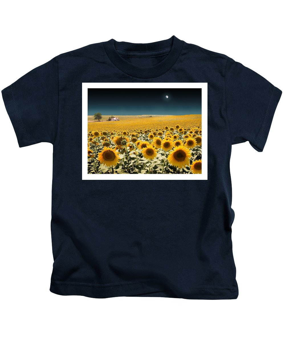 Sunflowers Kids T-Shirt featuring the photograph Suns And A Moon by Mal Bray