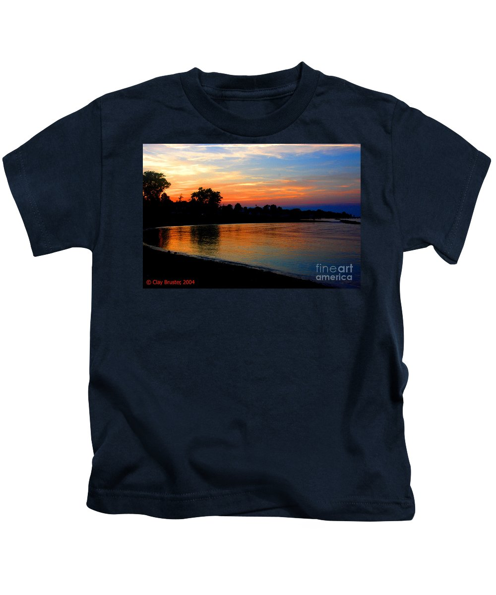 Clay Kids T-Shirt featuring the photograph Sunset At Colonial Beach Cove by Clayton Bruster