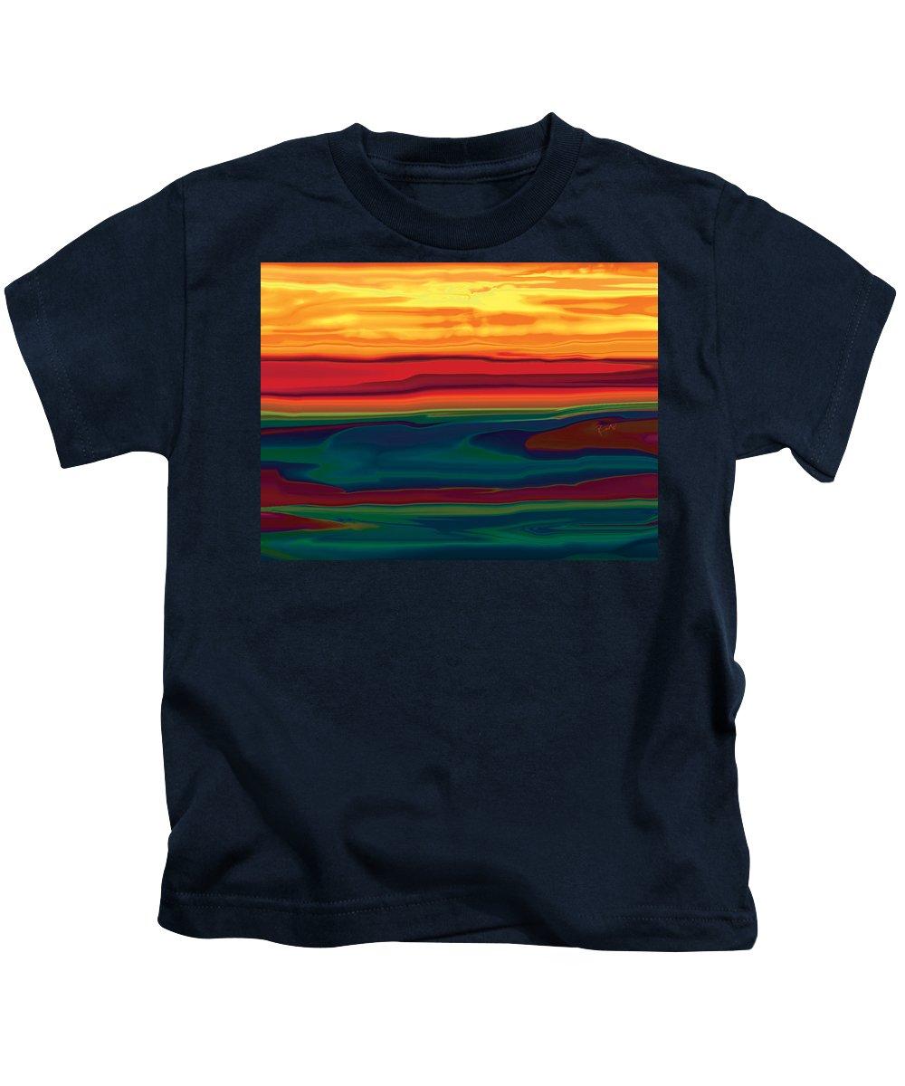 Art Kids T-Shirt featuring the digital art Sunset In Ottawa Valley by Rabi Khan