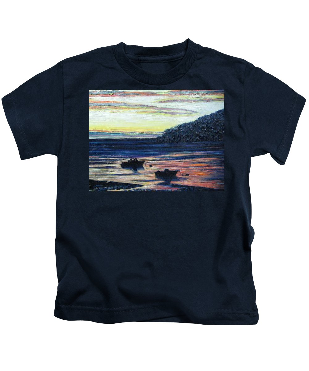 Maine Kids T-Shirt featuring the painting Sunset On Maine Coast by Richard Nowak