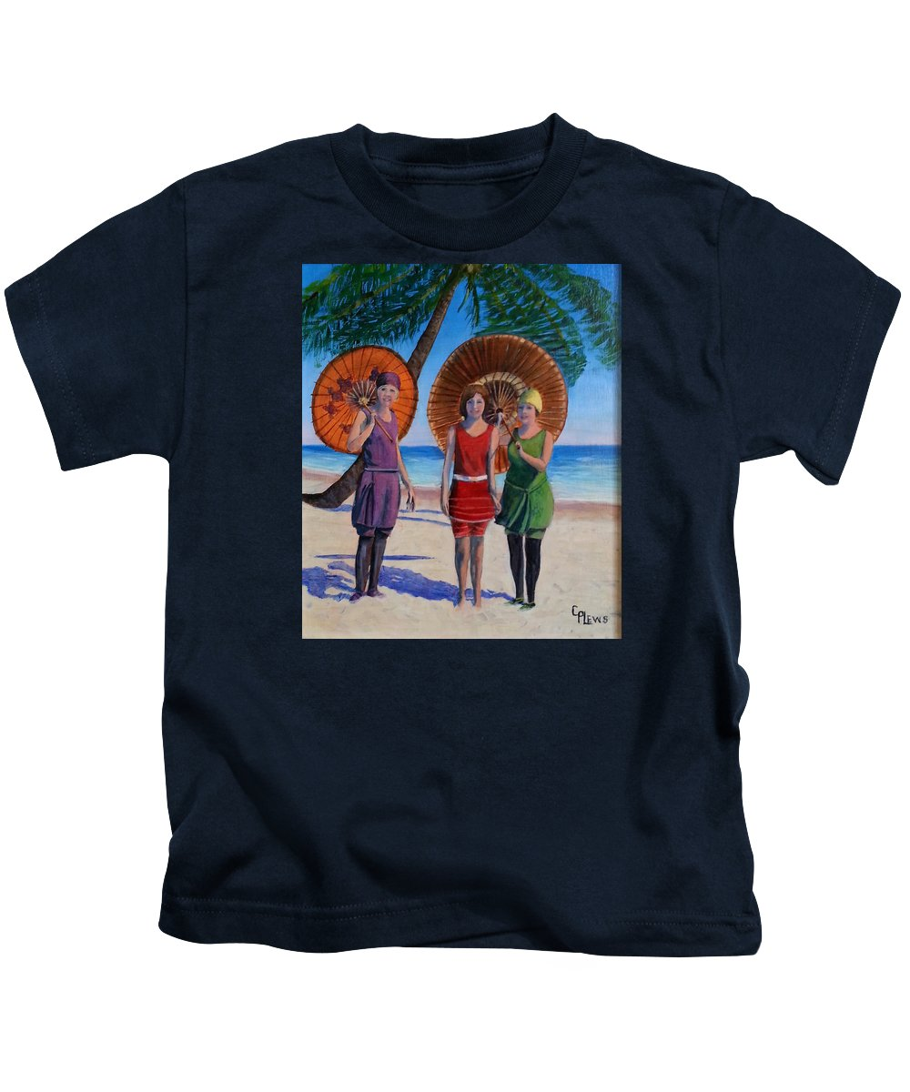Beach Kids T-Shirt featuring the painting Sunshine Girls by Connie Plews