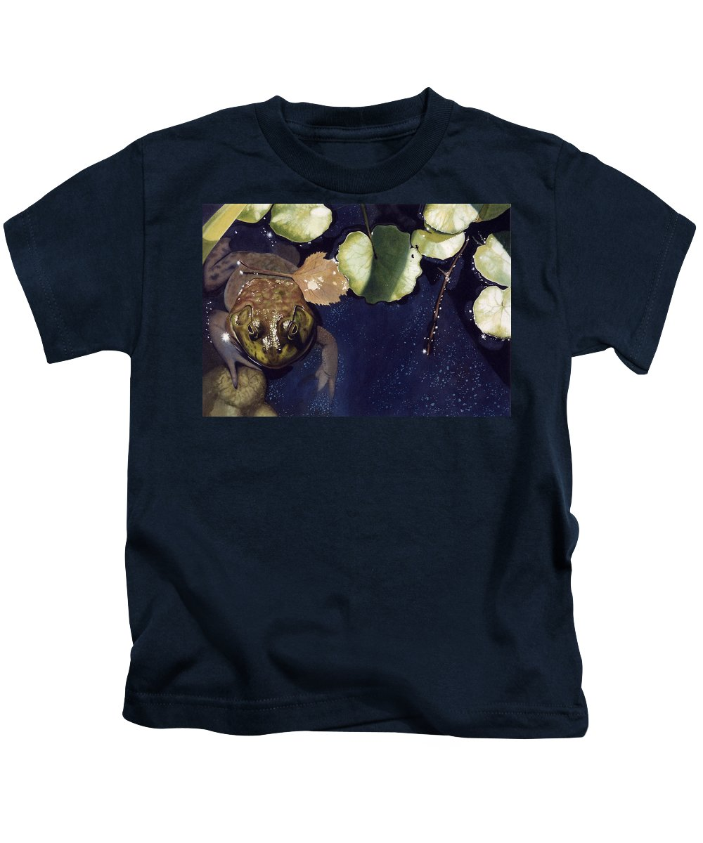Frog Kids T-Shirt featuring the painting Sunspots by Denny Bond