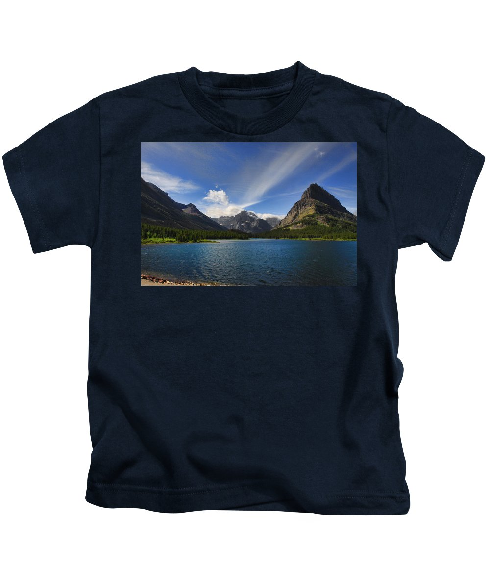Mountains Kids T-Shirt featuring the photograph Swiftcurrent Lake - Glacier Np by Shari Jardina