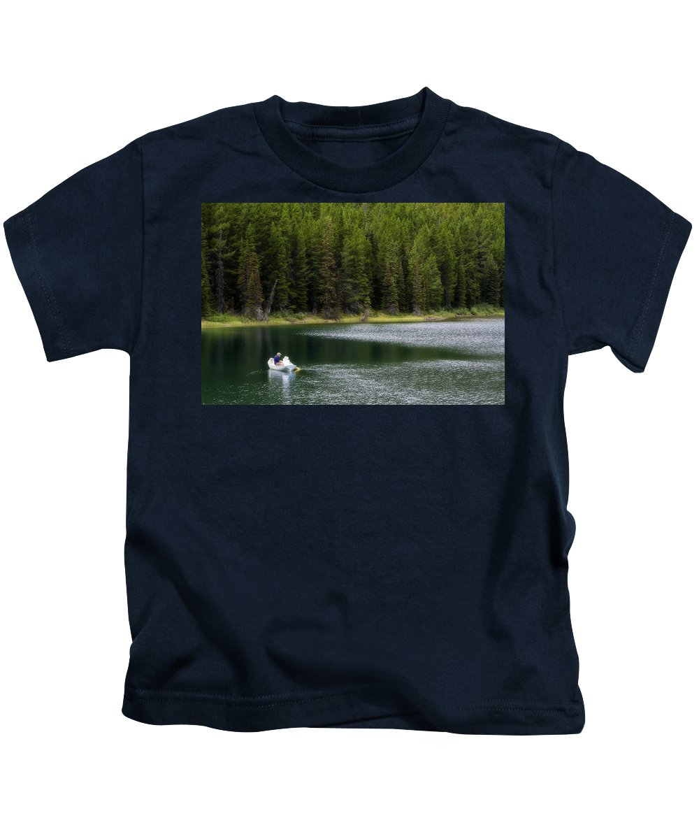 Glacier Kids T-Shirt featuring the photograph Swiftcurrent Lake Many Glacier Montana by Waterdancer