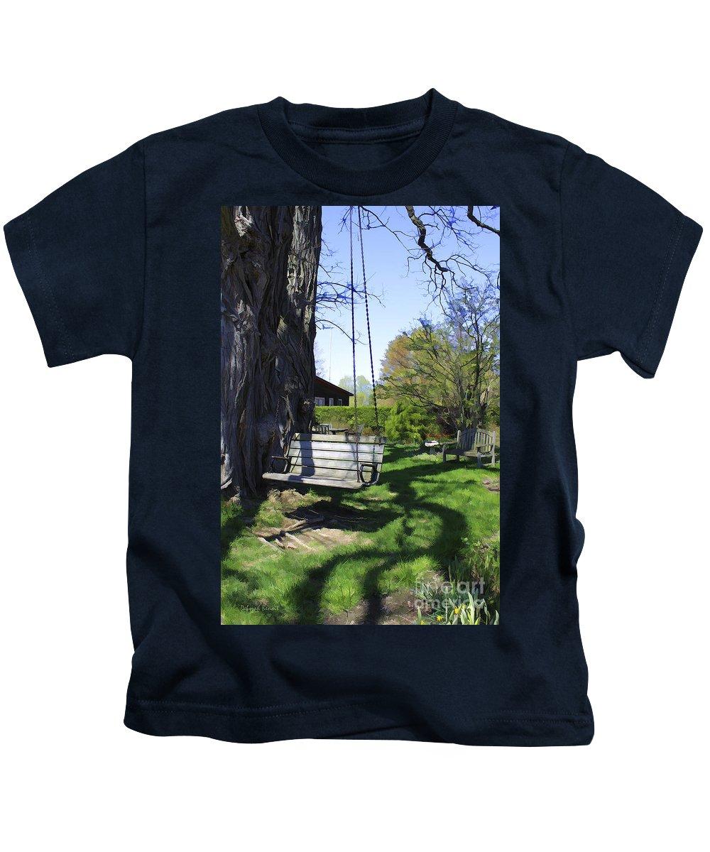 Spring Kids T-Shirt featuring the photograph Swing In Spring by Deborah Benoit