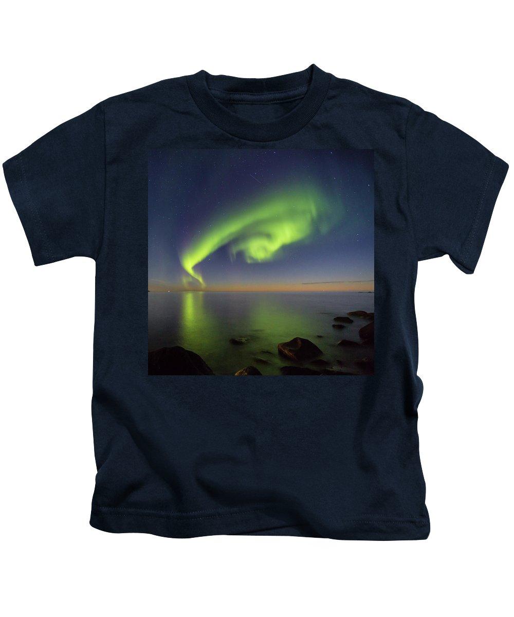 Aurora Borealis Kids T-Shirt featuring the photograph Swirl by Alex Conu