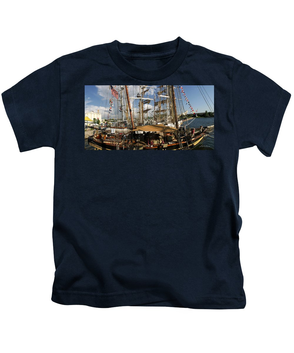 Color Kids T-Shirt featuring the photograph Tall Ships Heritage Landing by Frederic A Reinecke