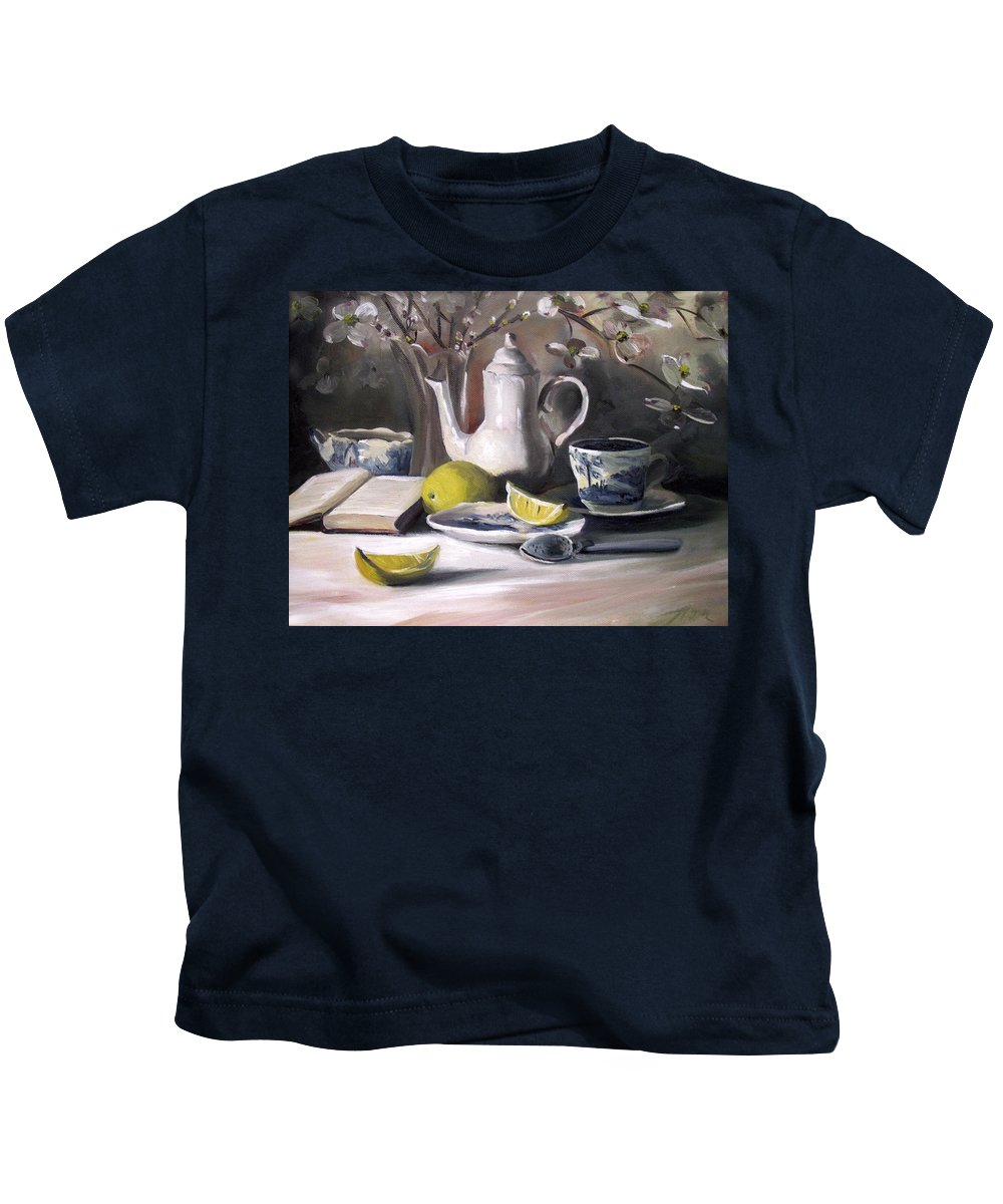 Lemon Kids T-Shirt featuring the painting Tea With Lemon by Nancy Griswold