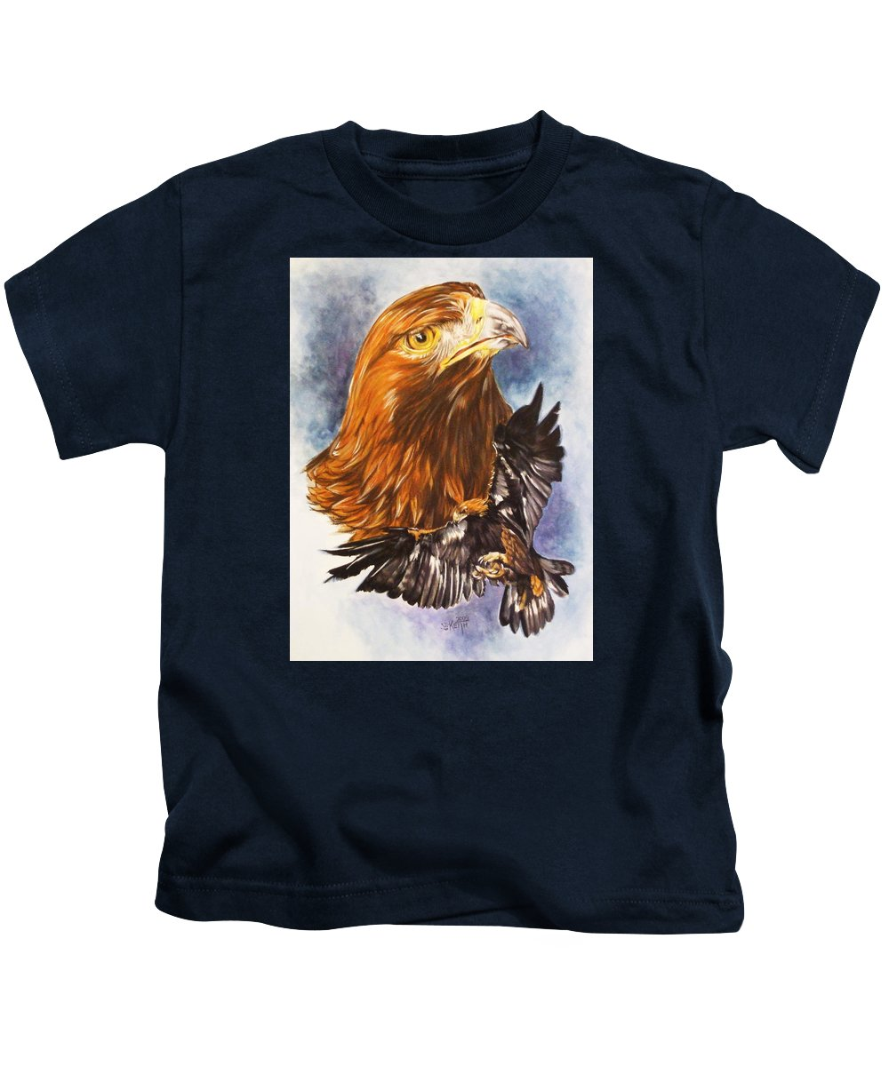 Eagle Kids T-Shirt featuring the mixed media Tenacity by Barbara Keith