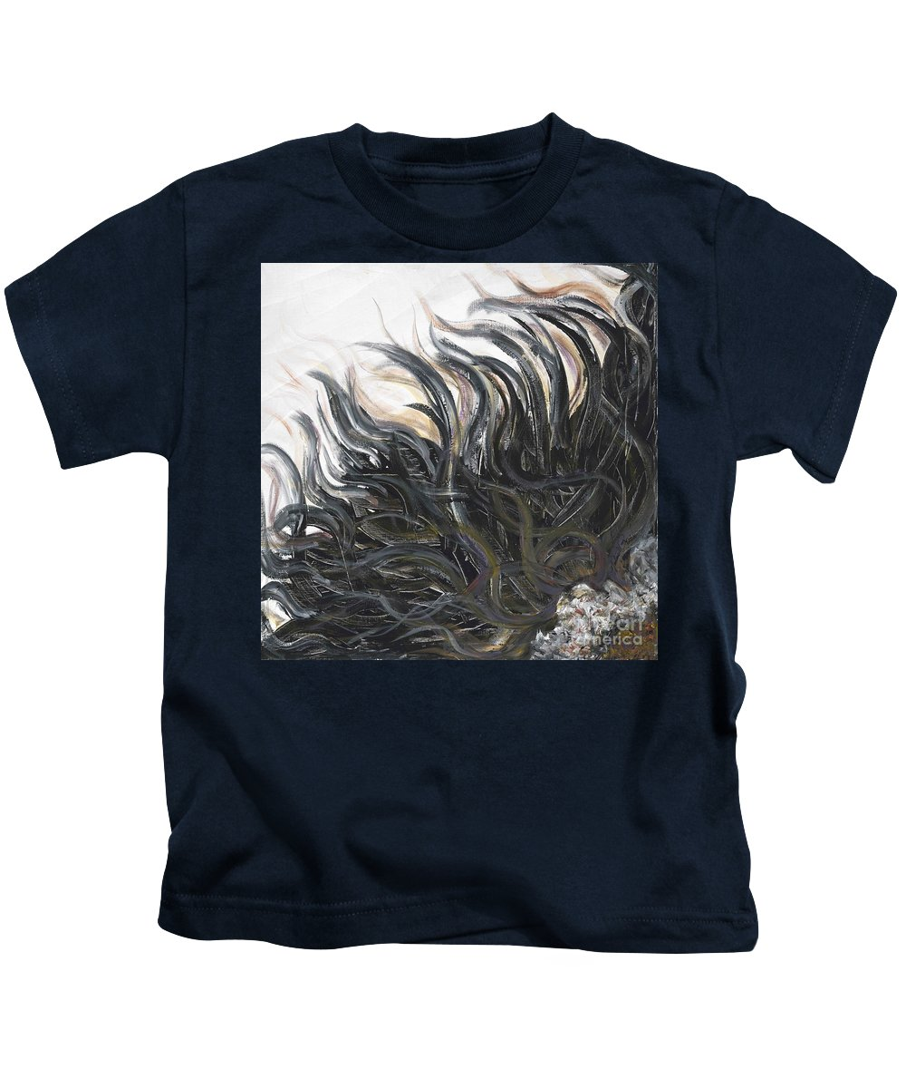 Texture Kids T-Shirt featuring the painting Textured Black Sunflower by Nadine Rippelmeyer