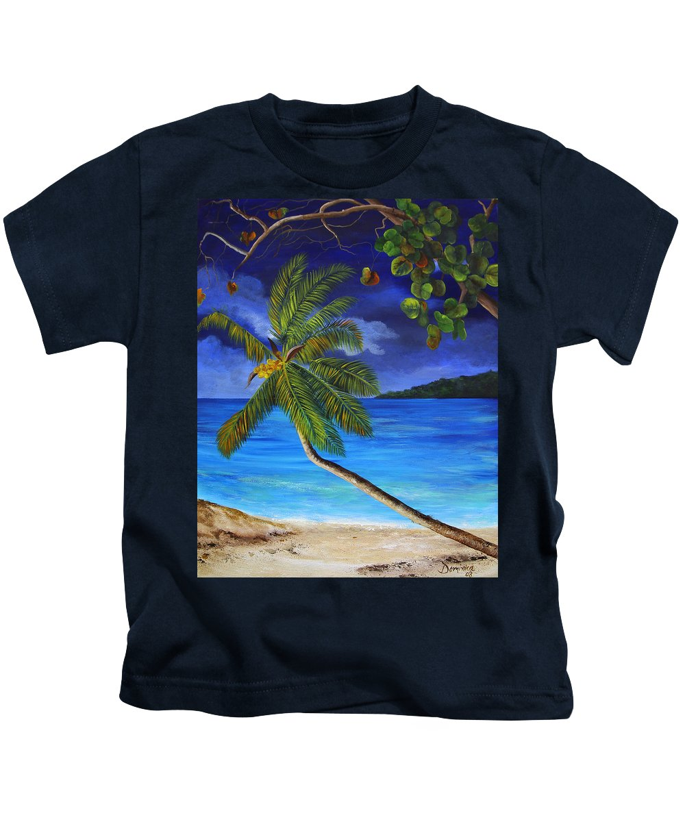 Beach Kids T-Shirt featuring the painting The Beach At Night by Dominica Alcantara