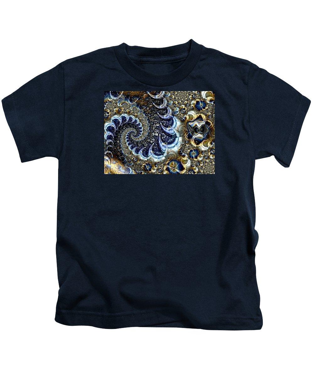 Fractal Diamonds Blue Jewel Dance River Kids T-Shirt featuring the digital art The Blue Diamonds by Veronica Jackson