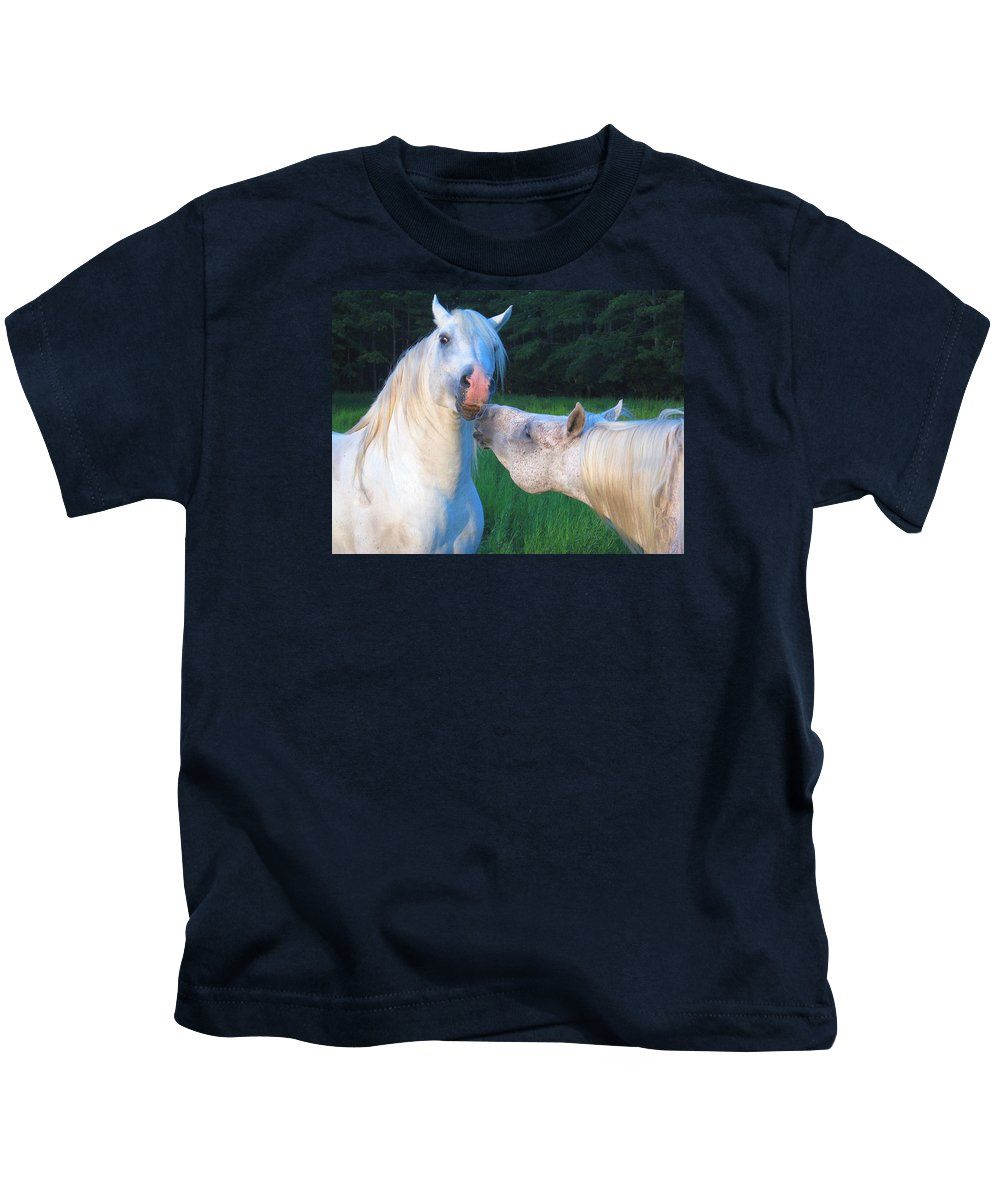 Stallions Kids T-Shirt featuring the photograph The Challange Begins by Dawn Johansen
