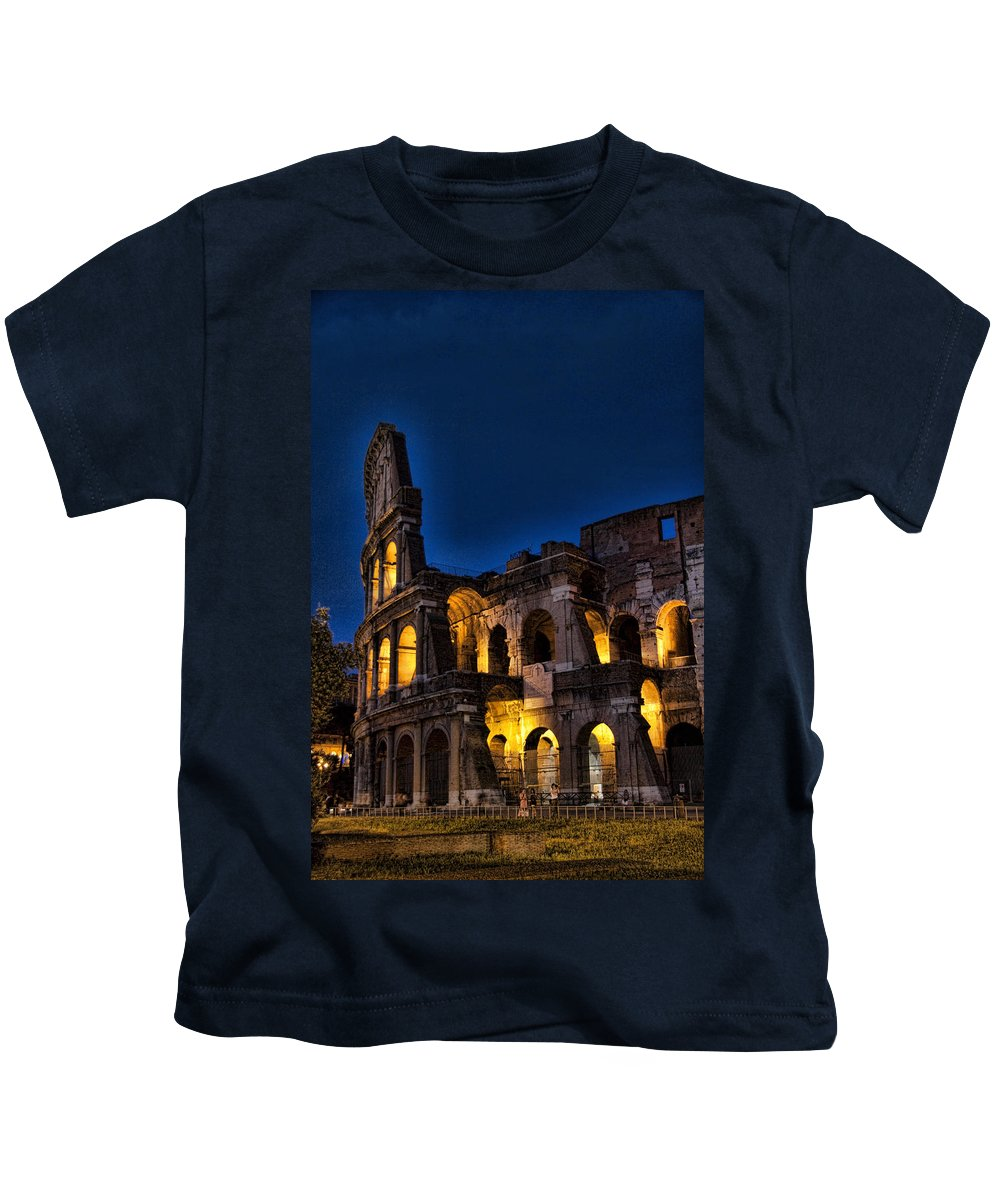 Coleseum Kids T-Shirt featuring the photograph The Coleseum In Rome At Night by David Smith
