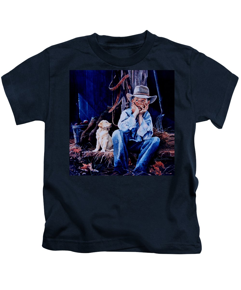 The Dilemma Kids T-Shirt featuring the painting The Dilemma by Hanne Lore Koehler