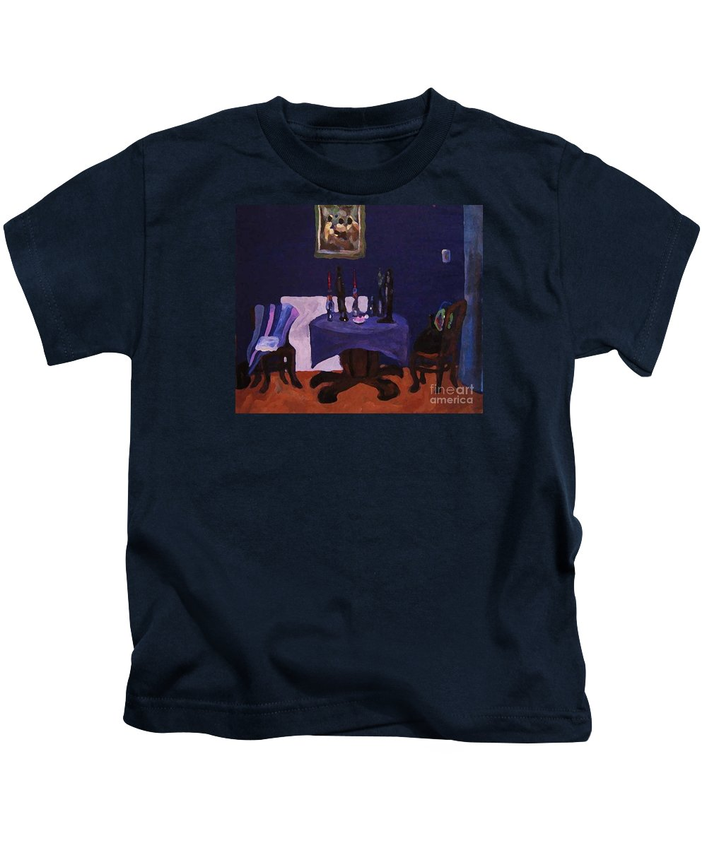 Talbe Chairs Dining Room Candles Blue Painting Kids T-Shirt featuring the painting The Dining Room by Reb Frost