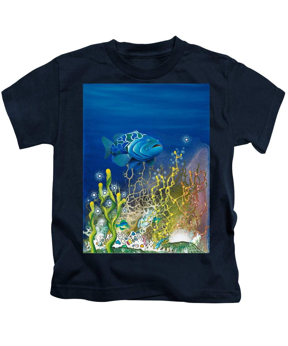 Beach House Kids T-Shirt featuring the painting The Emerald Grouper by Lee Pantas