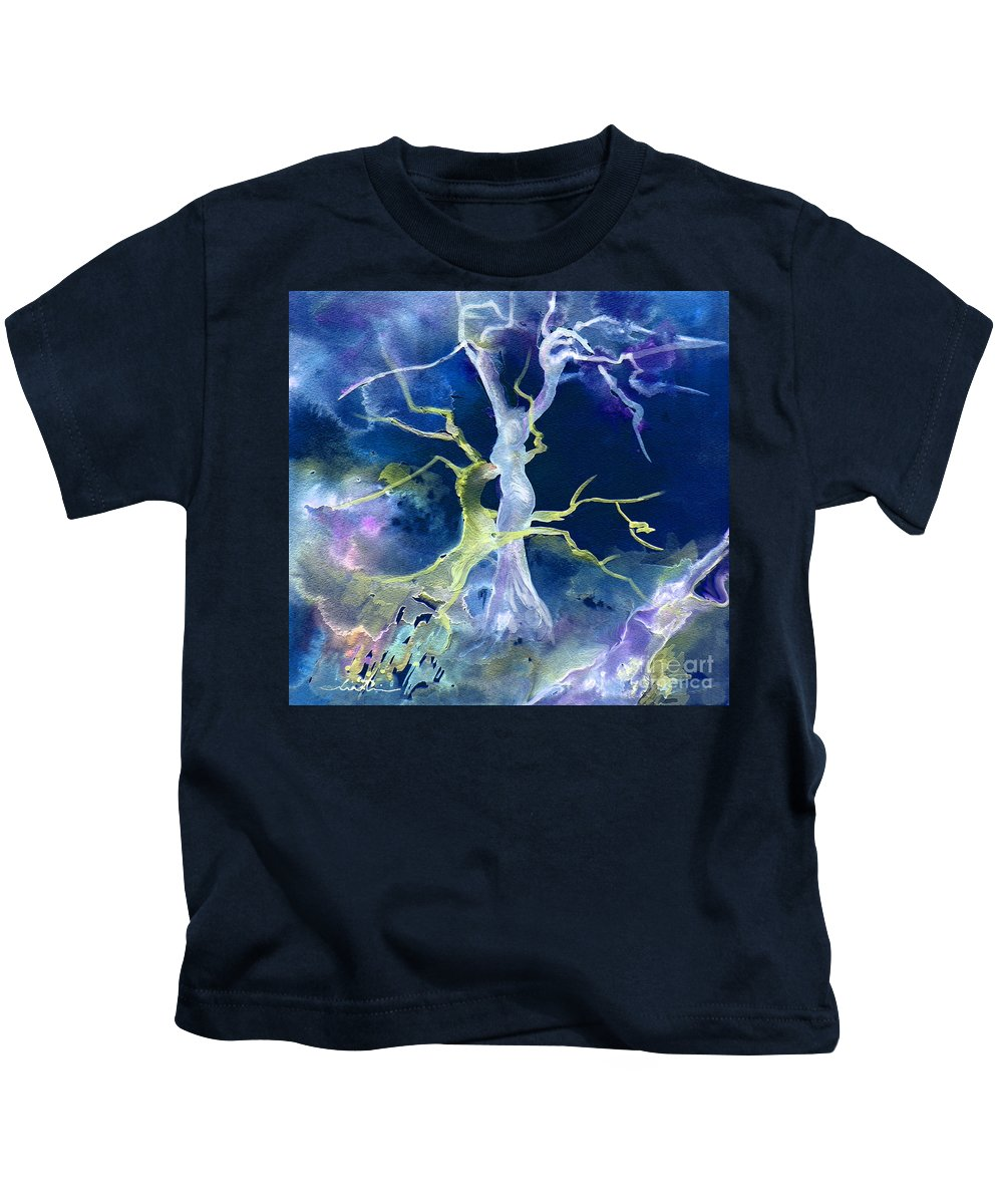 Sodom Kids T-Shirt featuring the painting The Fall Of Sodom by Miki De Goodaboom