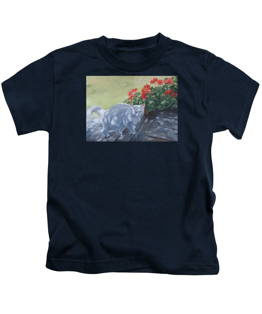 Cat Kids T-Shirt featuring the painting A Feral Cloud by Connie Schaertl