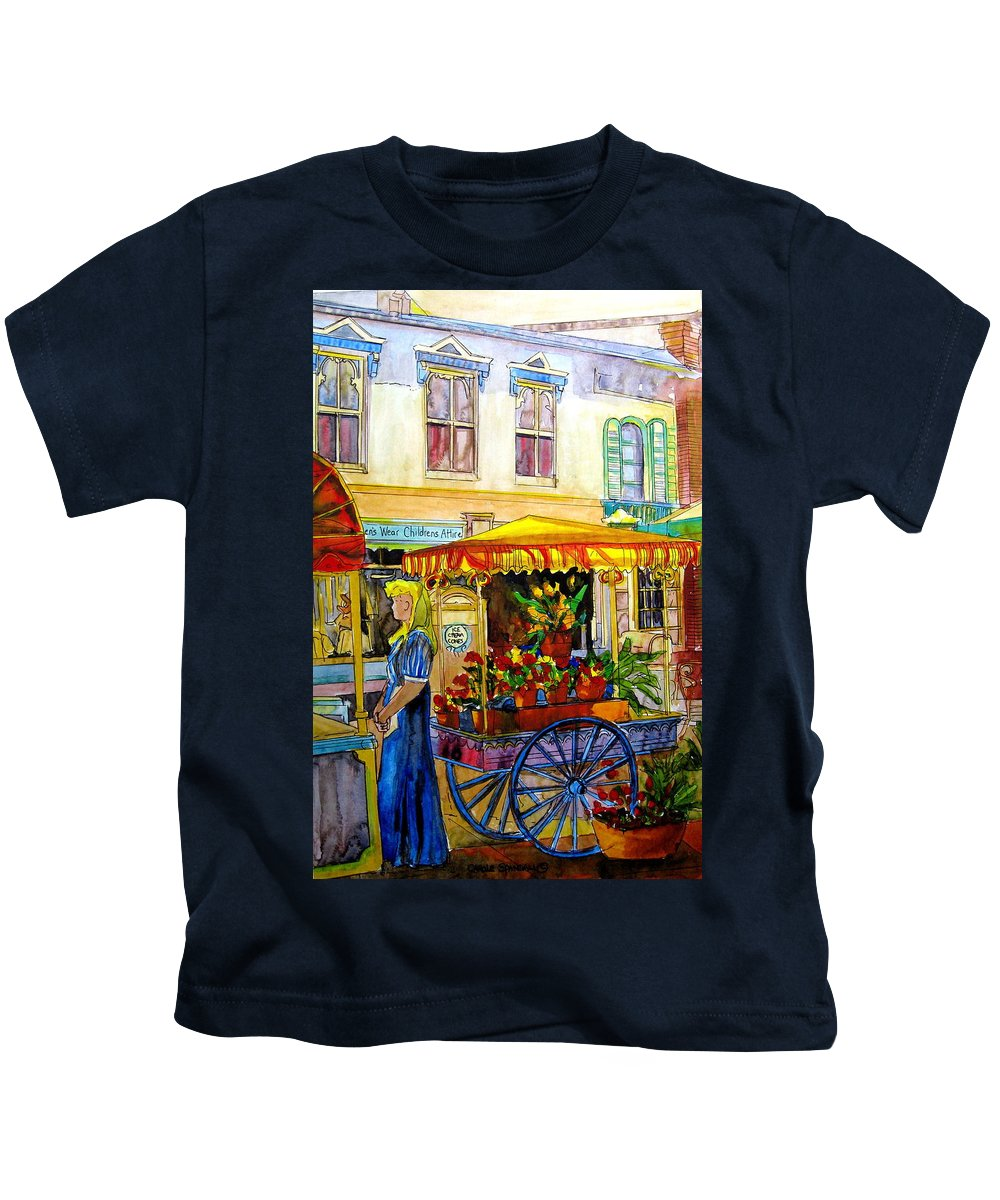 The Flowercart Kids T-Shirt featuring the painting The Flowercart by Carole Spandau
