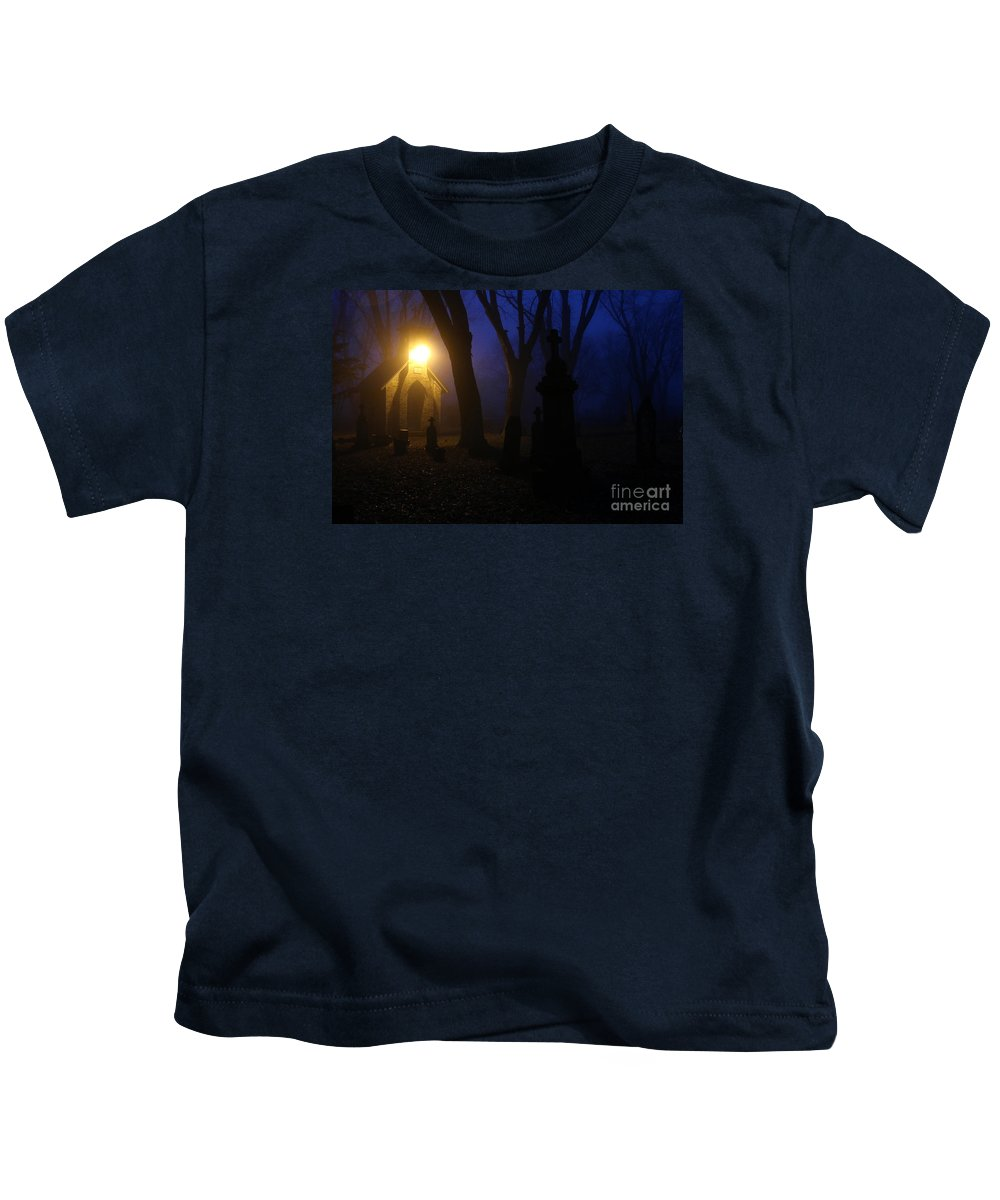 Cemetery Kids T-Shirt featuring the photograph The Foggiest Idea. by Eric Curtin