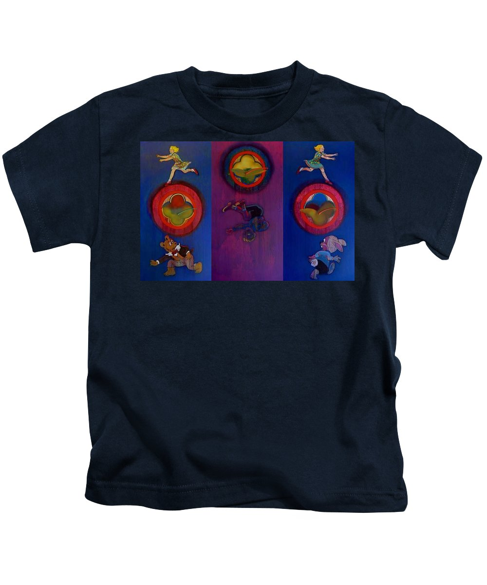 The Drums Of The Fruit Machine Stop At Random. Triptych Kids T-Shirt featuring the painting The Fruit Machine Stops II by Charles Stuart