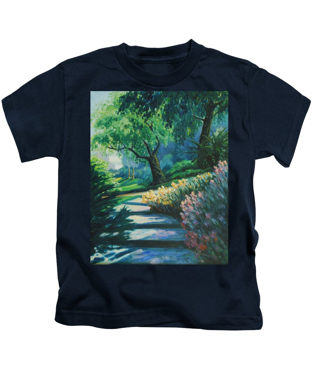 Trees Kids T-Shirt featuring the painting The Garden by Rick Nederlof