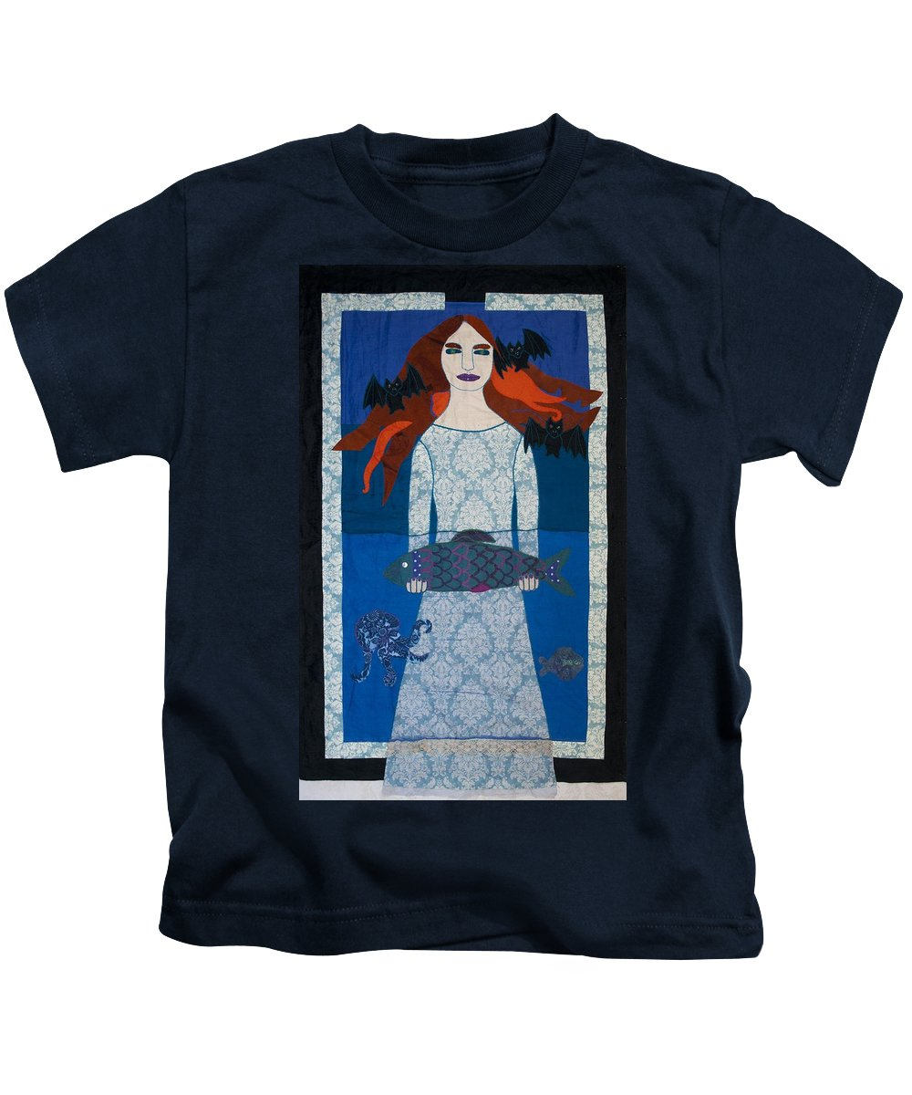 Girl Kids T-Shirt featuring the tapestry - textile The Girl With Bats And Fish by Sonja Yunda