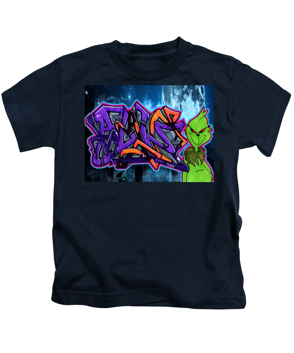 Graffiti Kids T-Shirt featuring the painting The Grinch Flavs by Flavs Graff
